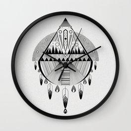 Geometrical black and white dreamcatcher Wall Clock