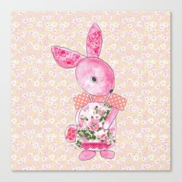 Girls Bunny Floral Canvas Print