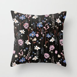 Darkly Beautiful Wildflower Floral Pattern Throw Pillow