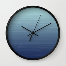 Light blue to navy painted gradient ombre Wall Clock