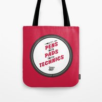 hiphop Tote Bags featuring HIPHOP ANTHEM : From Pens To Pads To Technics by Lbert