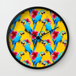 Macaw & flowers pattern Wall Clock