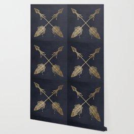 Arrows Gold Copper Bronze on Navy Blue Wallpaper