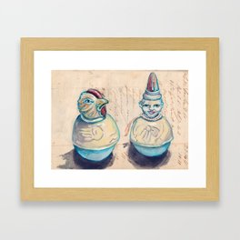 Vintage Celluloid Rollie Pollies in Mixed Media Framed Art Print