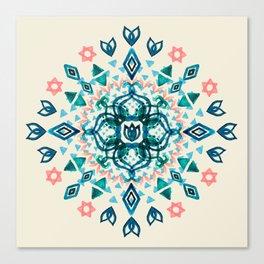Watercolor Lotus Mandala in Teal & Salmon Pink Canvas Print