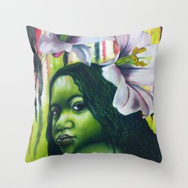 Green Lilly Throw Pillow