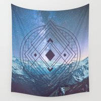 sacred geometry Wall Tapestries featuring Sacred Geometry Universe 7 by Gaudy