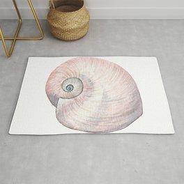 Watercolor Seashell Painting on White 3 Minimalist Coast - Sea - Beach - Shore Rug
