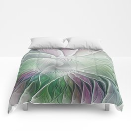 Colorful Fantasy Flower, Abstract Fractal Art Comforters