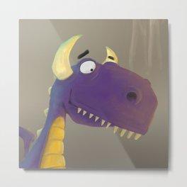 Cute little purple dragon head. Metal Print