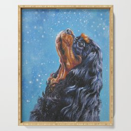 Beautiful black and tan Cavalier King Charles Spaniel Fine Art Dog Painting by L.A.Shepard Serving Tray