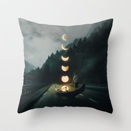 Moon Ride Throw Pillow