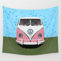 vw bus Wall Tapestries featuring The Pink  VW Love Bus of Peace  by BruceStanfieldArtist illustrator