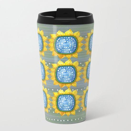 Sunny Flowers Metal Travel Mug