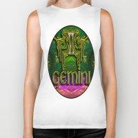 astrology Biker Tanks featuring Gemini Zodiac Sign Astrology by CAP Artwork & Design