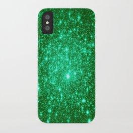 Emerald Green Glitter Stars iPhone Case