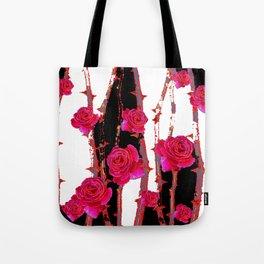MODERN ART PINK ROSE BLACK & WHITE ART Tote Bag