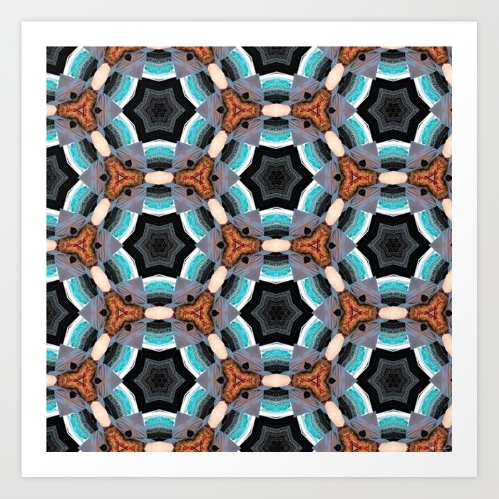 Crack in the Curtain - Abstract Kaleidoscopic Repeating Star Pattern Art Print