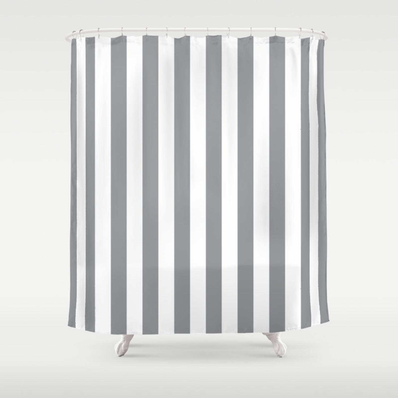 Vertical Grey Stripes Shower Curtain