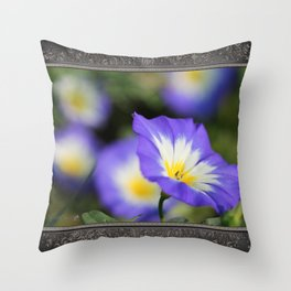 Morning Glory named Blue Ensign Throw Pillow