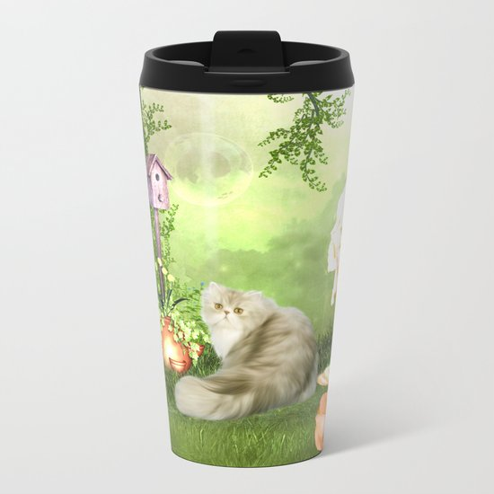 Cute cat Metal Travel Mug