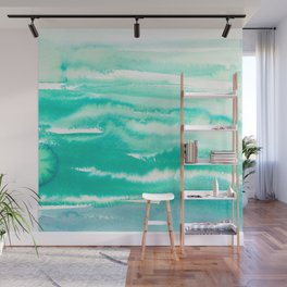 Modern hand painted teal turquoise watercolor brushstrokes Wall Mural