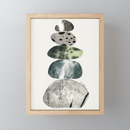 Stacked Pebbles On The Beach Framed Mini Art Print