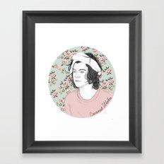 H circle floral  Framed Art Print