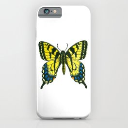 Tiger swallowtail butterfly watercolor and ink iPhone Case