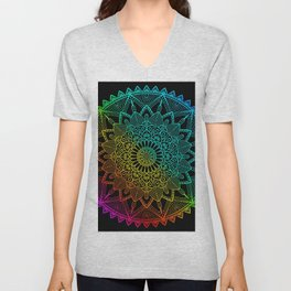 Black Rainbow Mandala Doodle Unisex V-Neck