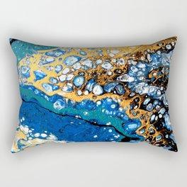 Gold and Blue Flow Rectangular Pillow