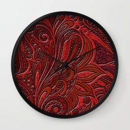 Elegant Oriental Floral Swirl on Red Leather Wall Clock