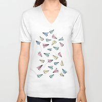 airplanes V-neck T-shirts featuring Paper Planes in Pastel by Tangerine-Tane