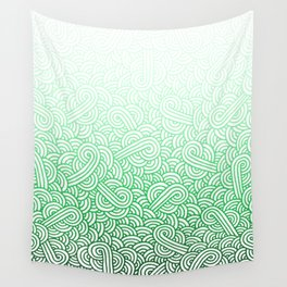 Gradient green and white swirls doodles Wall Tapestry