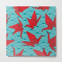 Origami red paper cranes sketch. burgundy maroon line Nature oriental Metal Print