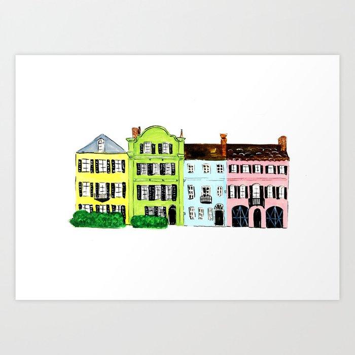 9d33d5a961f Rainbow Row Art Print by talulachristiandesigns