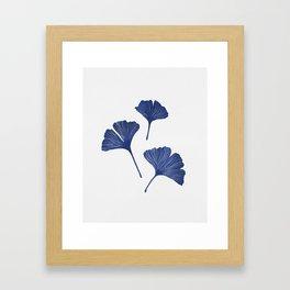 Blue Ginkgo Biloba Pattern Framed Art Print