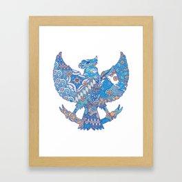 batik culture on garuda silhouette illustration Framed Art Print