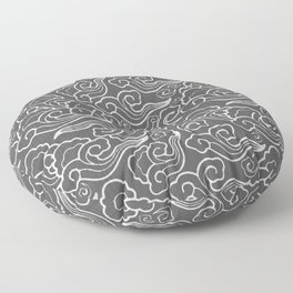 Vintage Japanese Clouds, Graphite Gray / Grey Floor Pillow