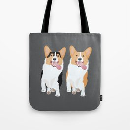 Corgi Friends Running Together Tote Bag