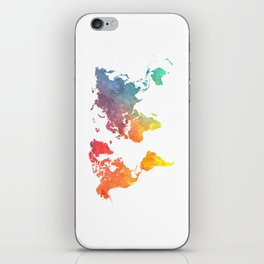 Map of the world colored iPhone Skin