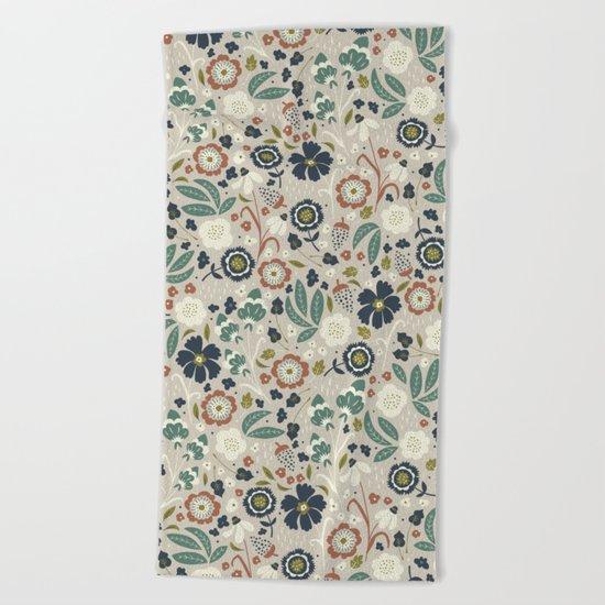 Flourishing Florals (Light-Green) Beach Towel