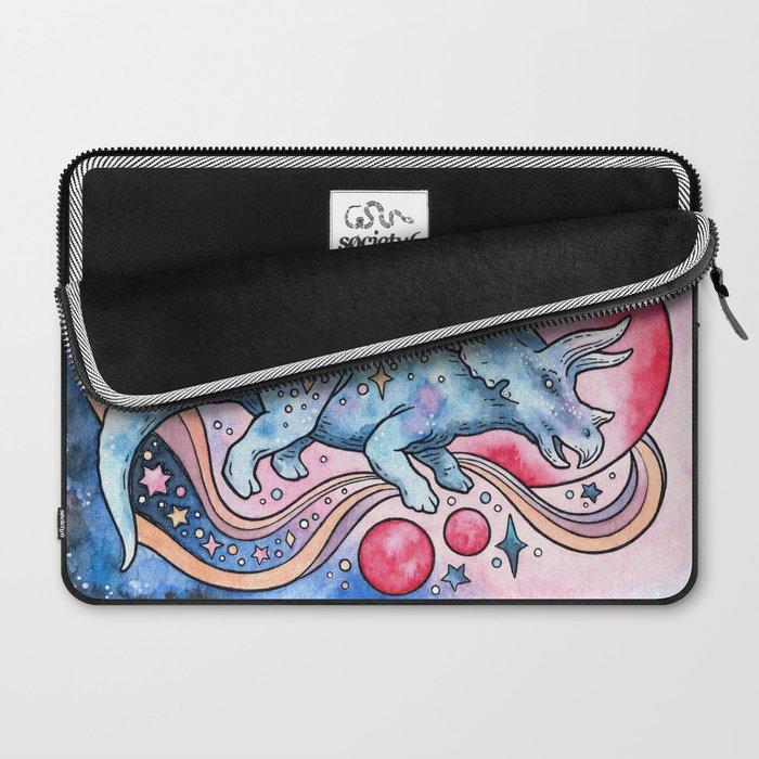 Star Tricera   Cosmic Dinosaur Watercolor Laptop Sleeve