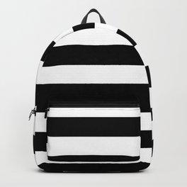 Black and White Medium Stripes Pattern Backpack
