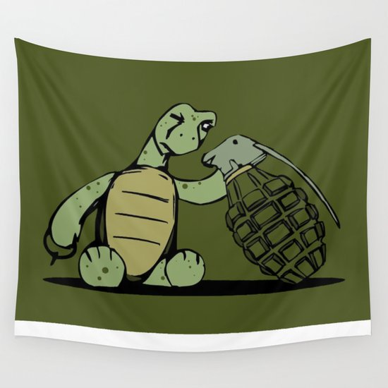 Turtle and The Bomb Wall Tapestry