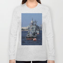 Warships moored on the Neva River. Aft / Stern of the ship. Day of the Russian Navy. Saint-Petersbur Long Sleeve T-shirt