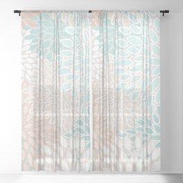Floral Prints, Soft, Peach and Teal, Modern Print Art Sheer Curtain