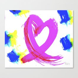 Pink Heart Ribbon (with Tie-Dye Blue-Yellow) for Breast Cancer Research by Jeffrey G. Rosenberg Canvas Print