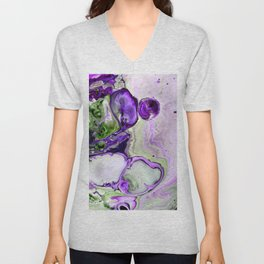 Colorful Purple Fluid Acrylic Pour Art - Digital Art Unisex V-Neck