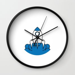 Blue and white rocket ship inside a thin white circle. A cute simple illustration of a Rocket Space Wall Clock